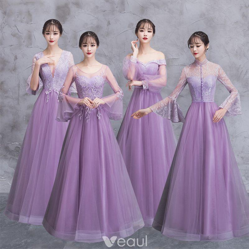 Elegantes Lila Transparentes Vestidos De Damas De Honor 2018 A-Line ...