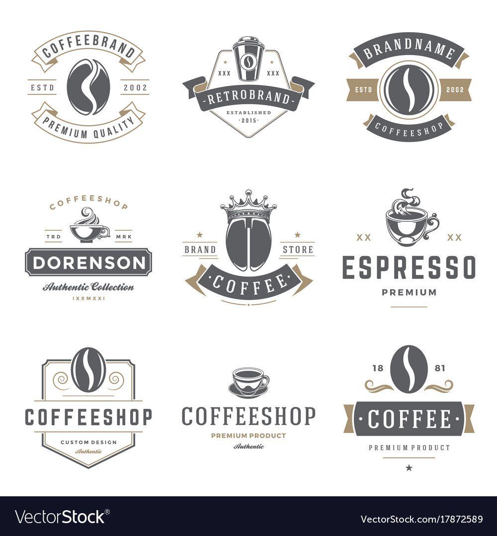 Coffee shop logos templates set bean silhouette Vector