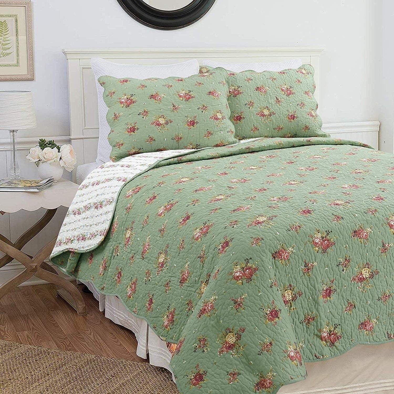 Cozy Line Kylie 3Piece Floral Reversible Cotton Quilt Set