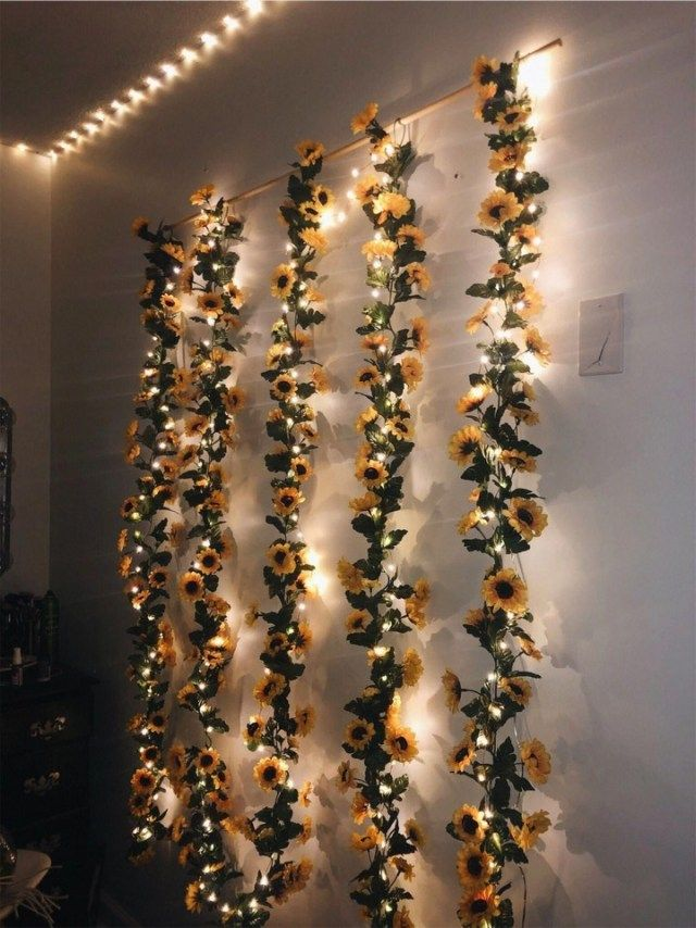 10 Ideas To Hang Christmas Lights In Your Bedroom Sunflower Wall