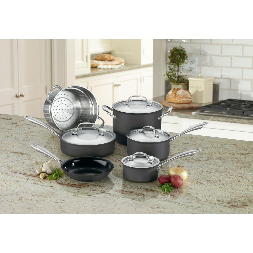 Green Gourmet Hard Anodized 10 Piece Cookware Set Cookware Set Kitchen Cookware Sets Hard Anodized Cookware