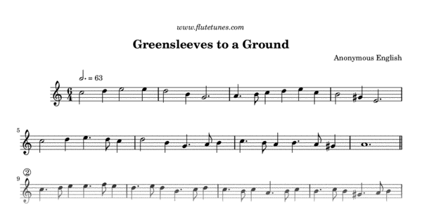 Greensleeves To A Ground From The Division Flute Part I Trad English Free Flute Sheet Music Sheet Music Flute Sheet Music Free Flute Sheet Music