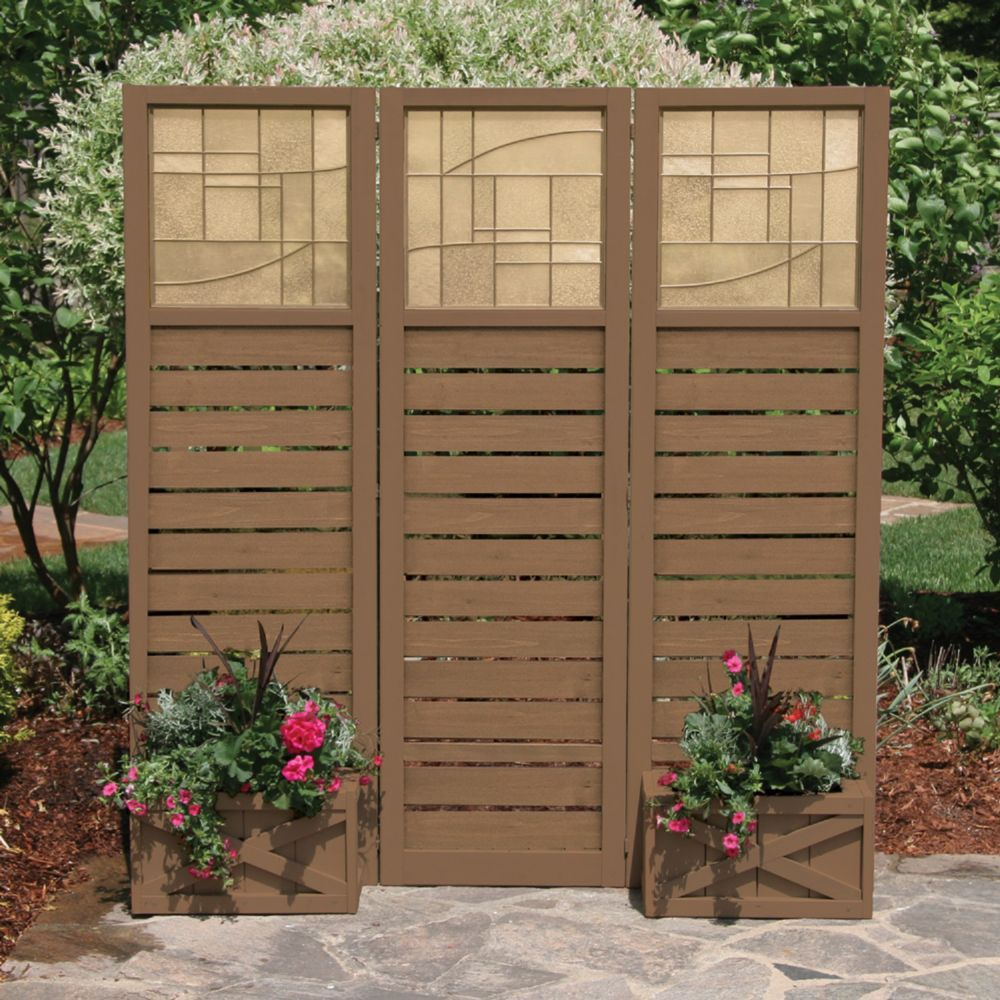 Faux Glass & Slat Panel Privacy Screen With Planters - Brown ...