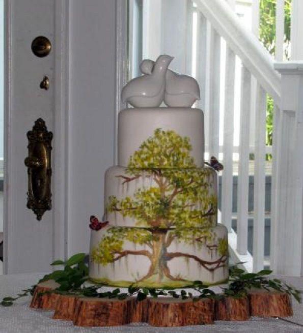 Pretty Spanish Moss Trees Hand Painted Onto Fondant Cake Debbies Sweet Art