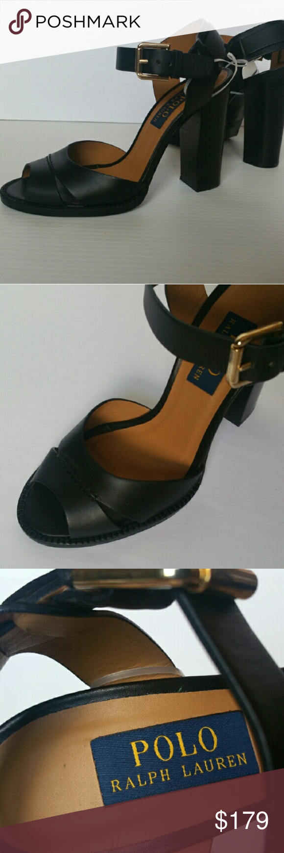 5bef1e7b9c1 New Polo Ralph Lauren leather black Norene Sandals Brand new Polo ...