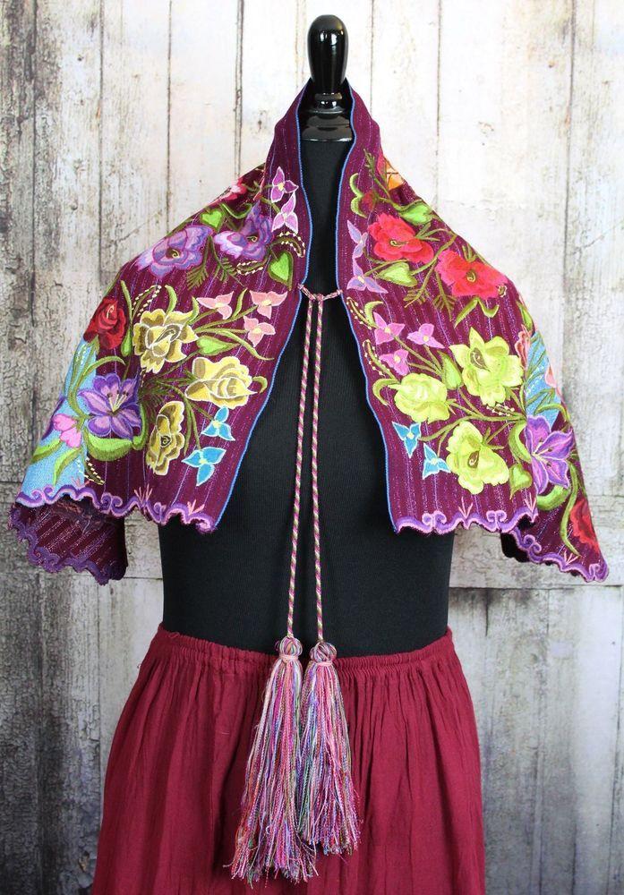 Traditional Hand Woven Cape Shawl Mayan Zinacantan Chiapas Mexico ...