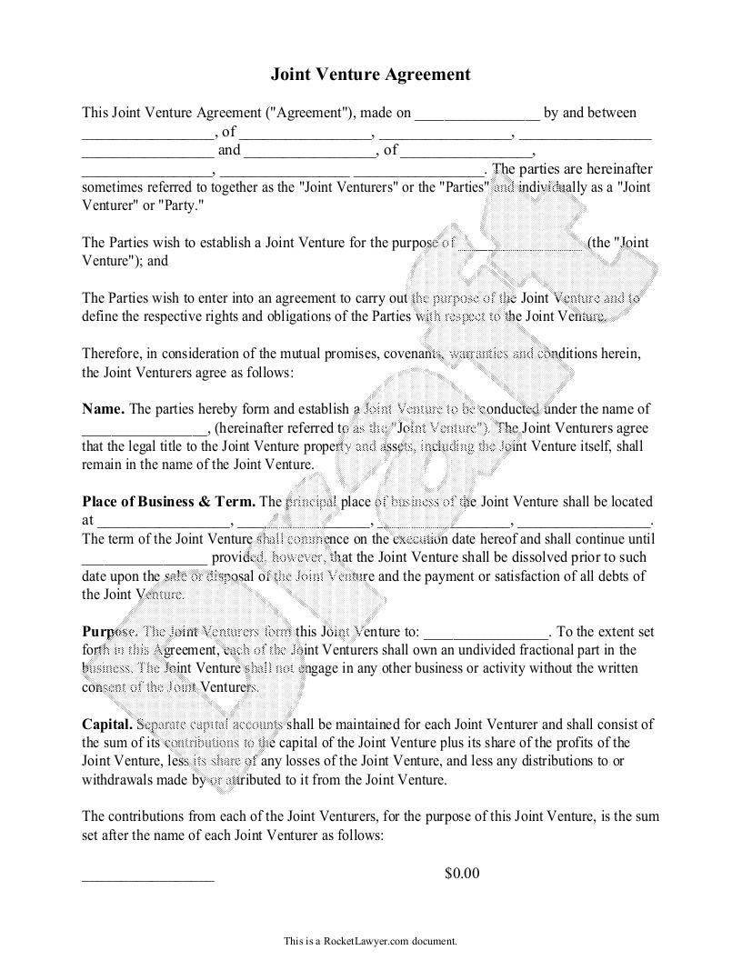 standard form joint venture agreement Sample Joint Venture Agreement Form Template  Joint venture