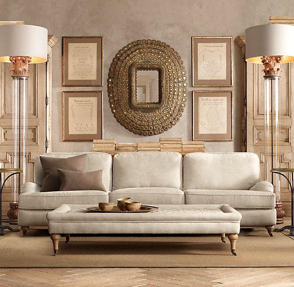 "Restoration Hardware Apartment: 96"" English Roll Arm Upholstered Sofa"