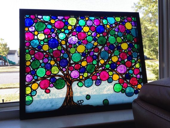 Colorful Bubble Tree Original Glass Painting By Sparkysglassart 100 00 Glass Painting Bubble Tree Painting Frames