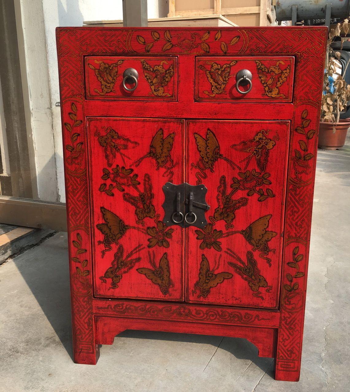 28'h. Oriental Shanxi 2 Door 2 Drawer Hand Painted Chest ...
