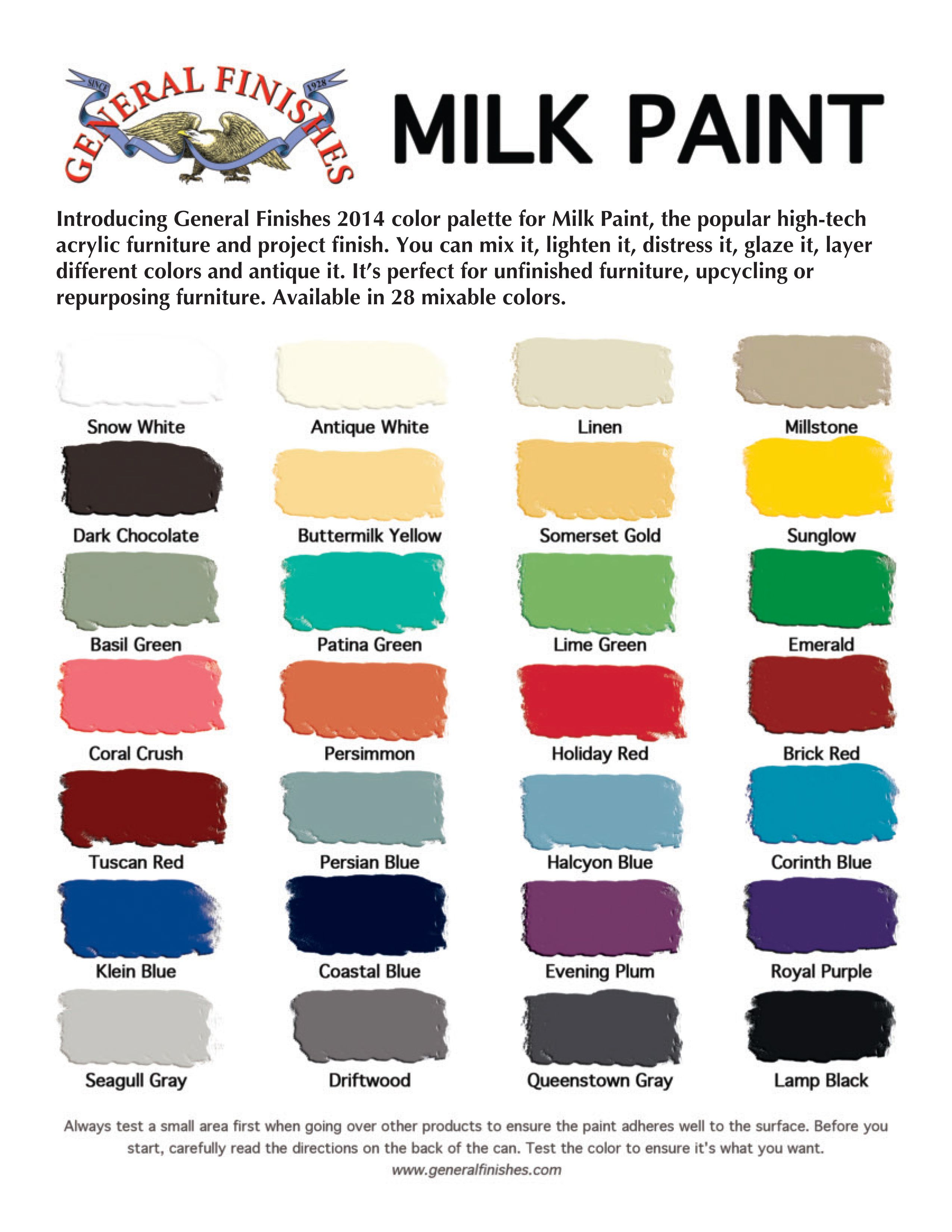 The new general finishes milk paint color chart for Paint charts for kitchens