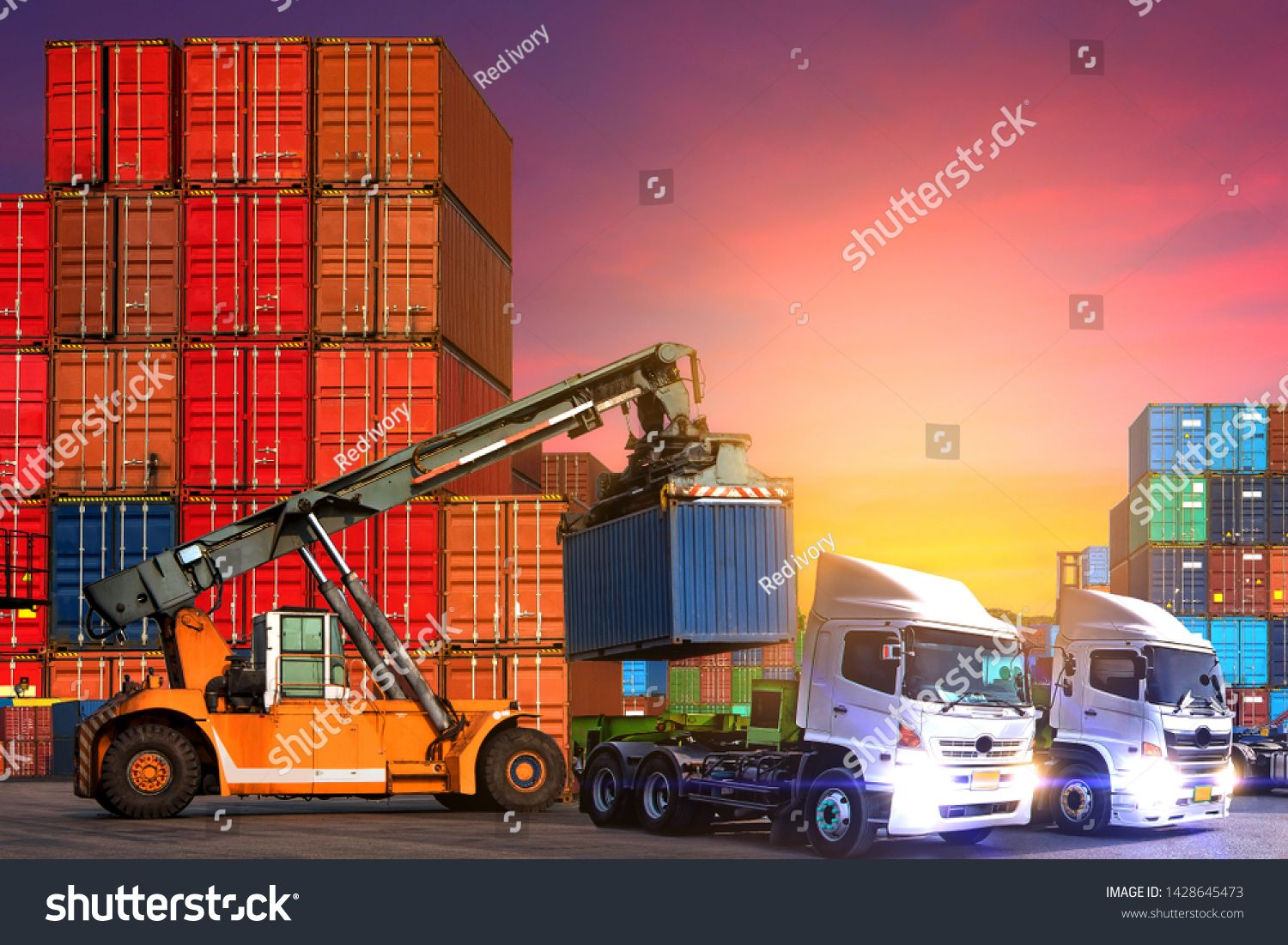 Industrial Logistics And Transportation Of Truck In Container Yard