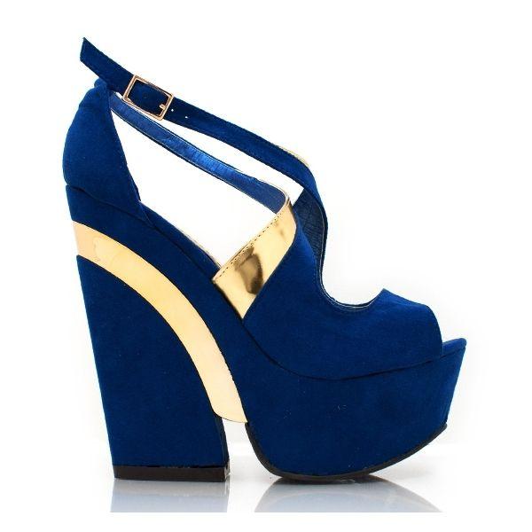 520e7cda53e0fb Chaussure à Talon compensé, Couleurs Bleu et Or | Chaussures ...