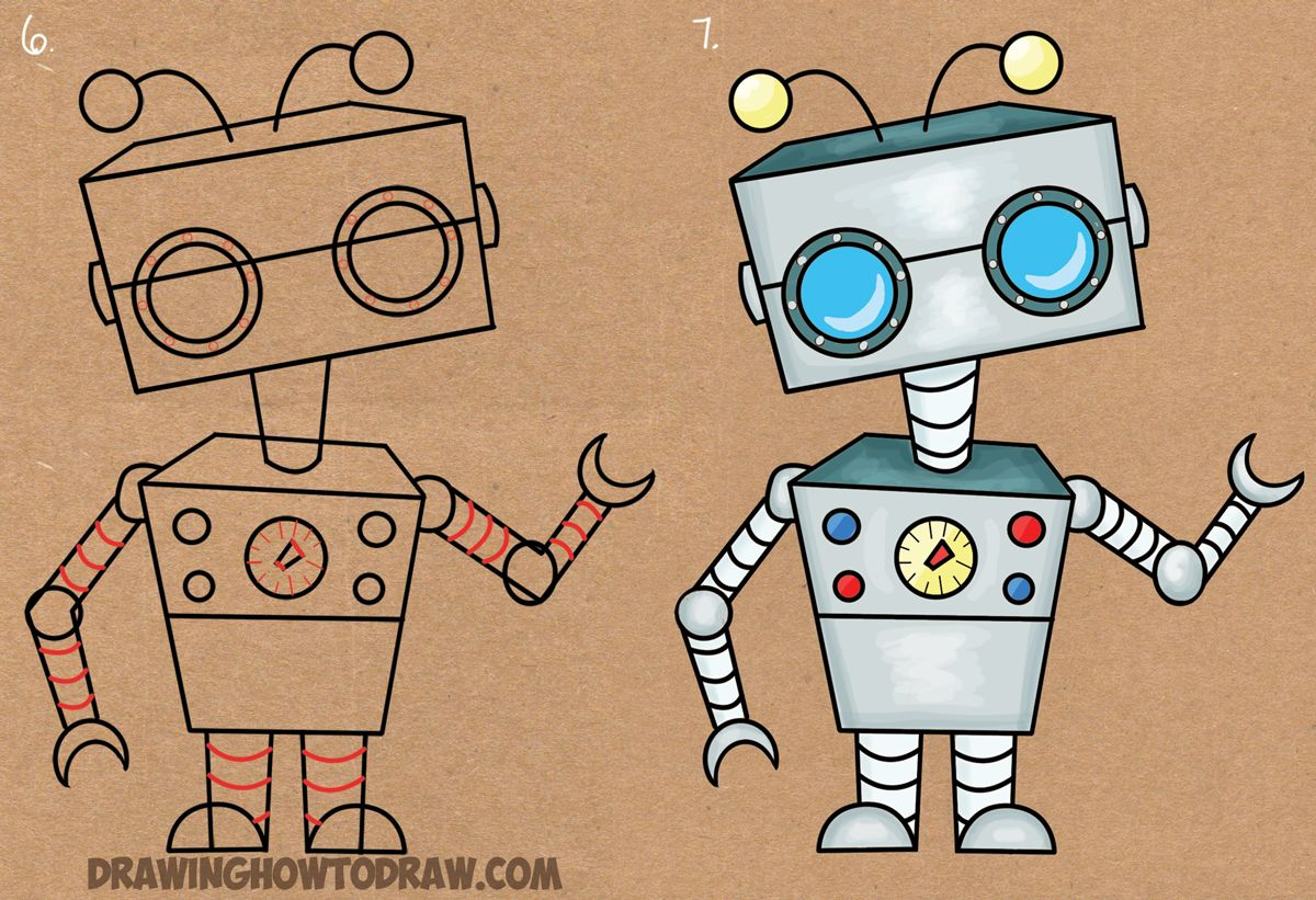 How To Draw A Cartoon Robot From Letter E Shape Easy Drawing