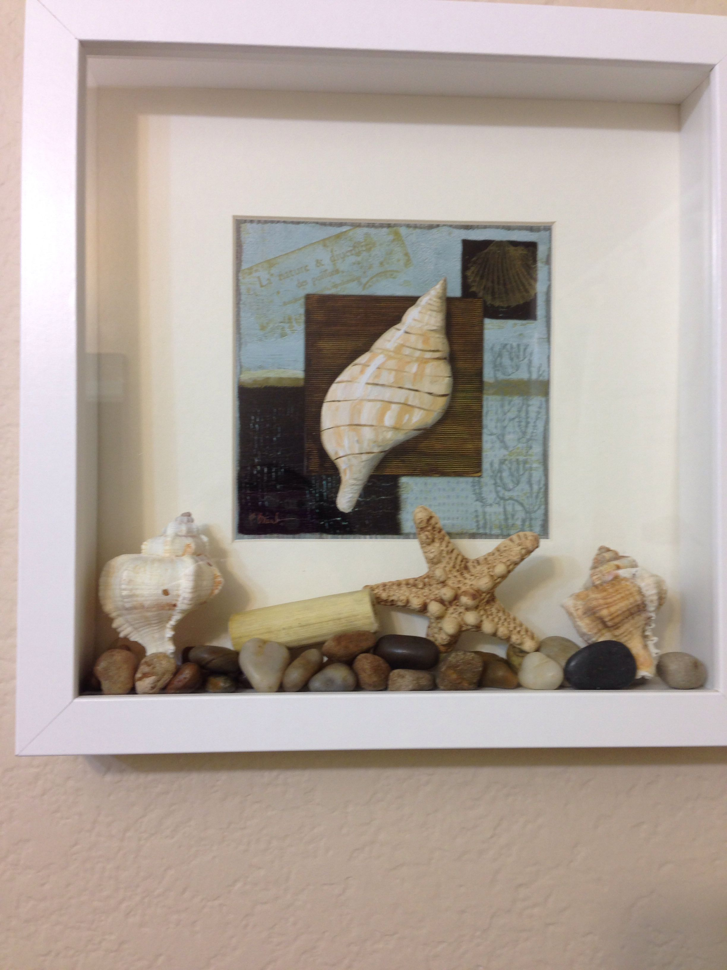 Something I did for the guest bathroom! It\'s a shadow box frame from ...