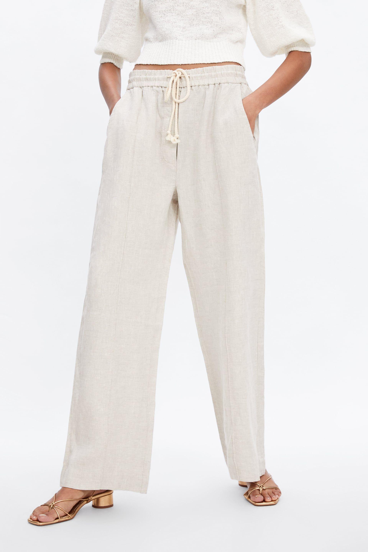 44c69d35e6e913 Linen pants in 2019 | Spring Outfits 2019 | Linen trousers, Linen ...
