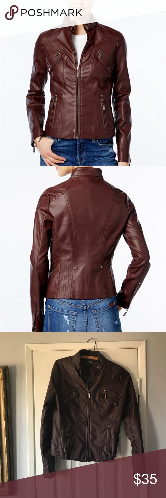 Macy's JouJou vegan leather jacket in walnut Beautiful