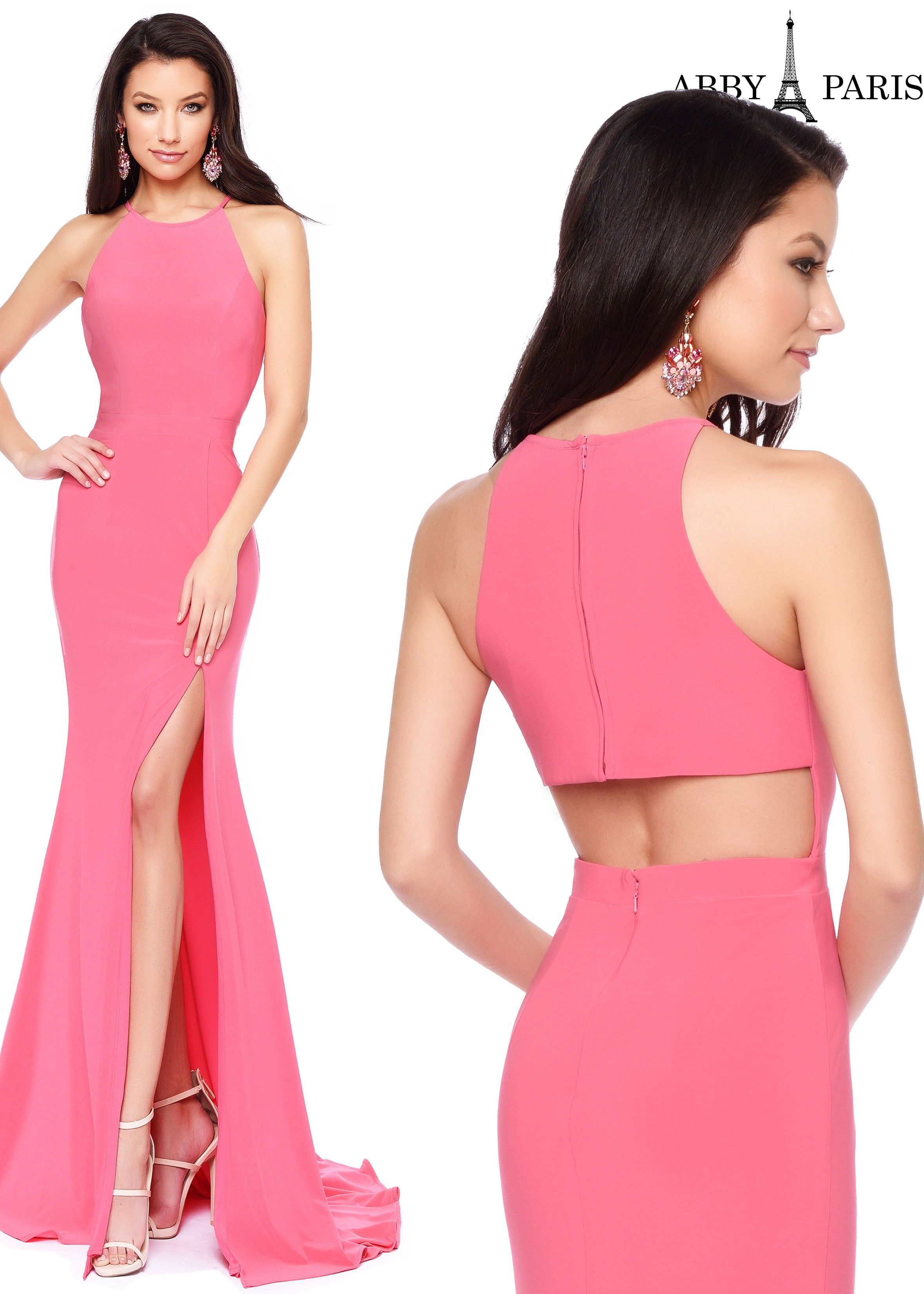 Abby paris by lucci lu racerback jersey gown prom dresses