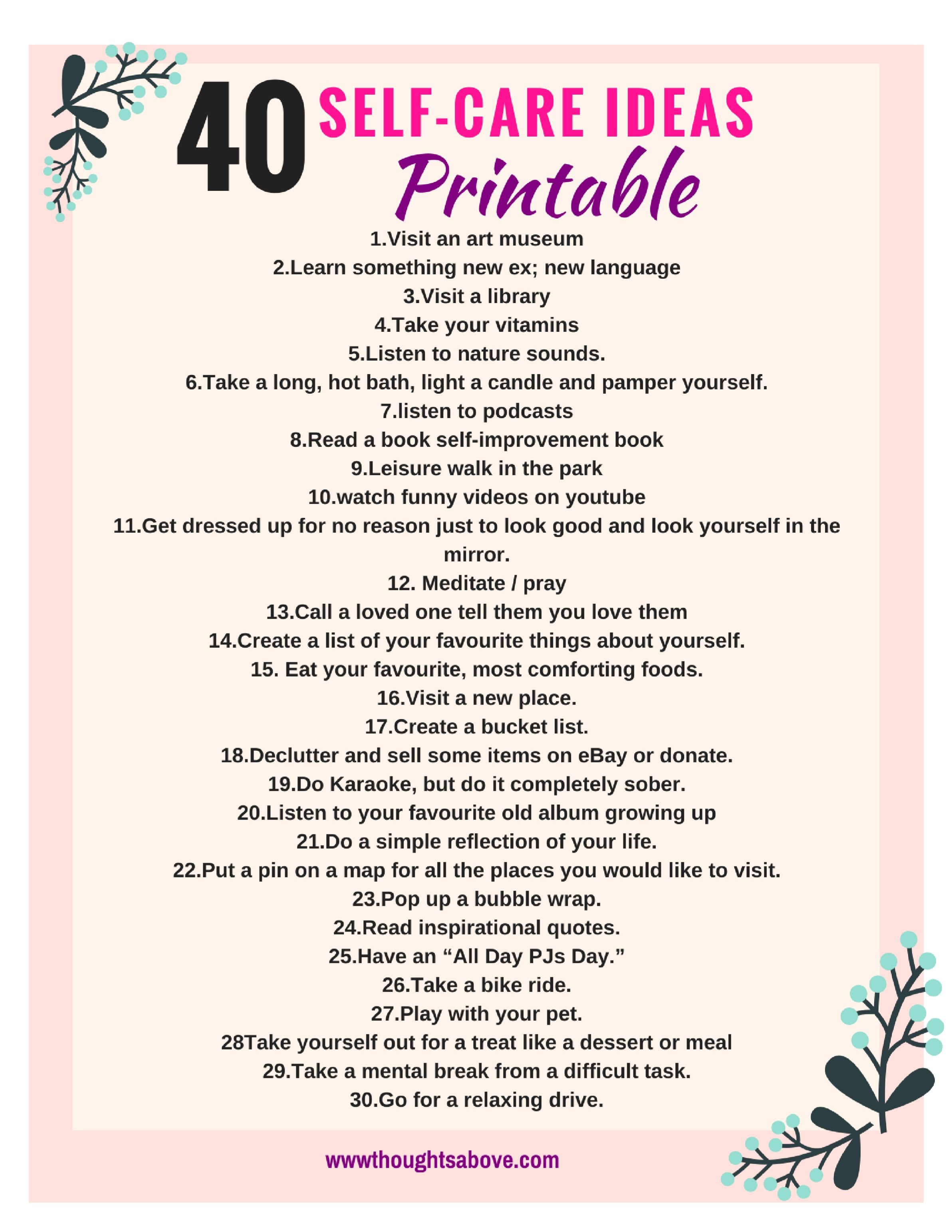 Self Care Printable And Worksheet Free  Free Printables