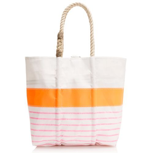 Sea Bags for JCrew Tote in orange pink! It's made out of recycled sails! Perfect for the beach.