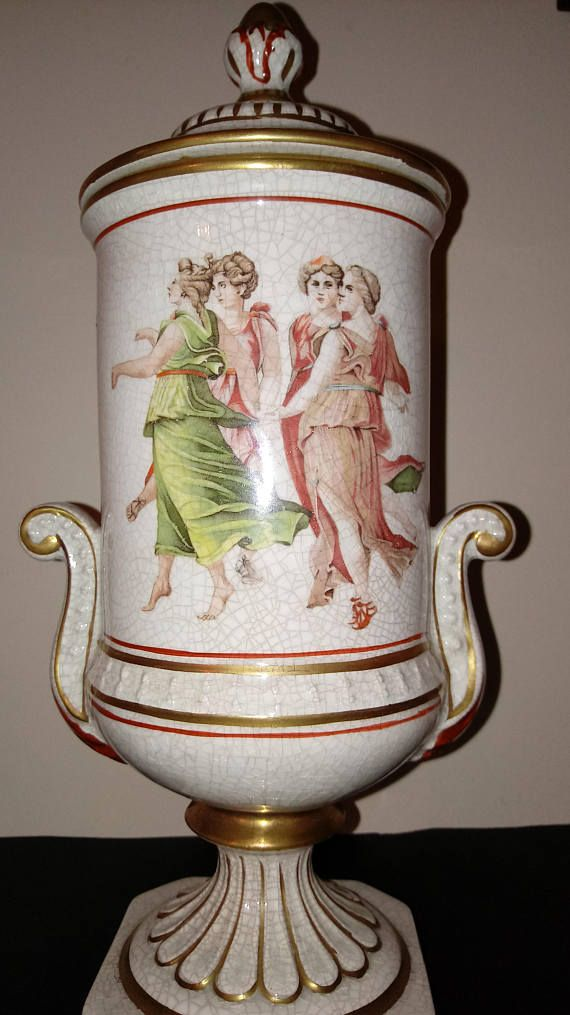 Italian Porcelain Urn With Lid Pompei Italy Gold Gilt Vintage And