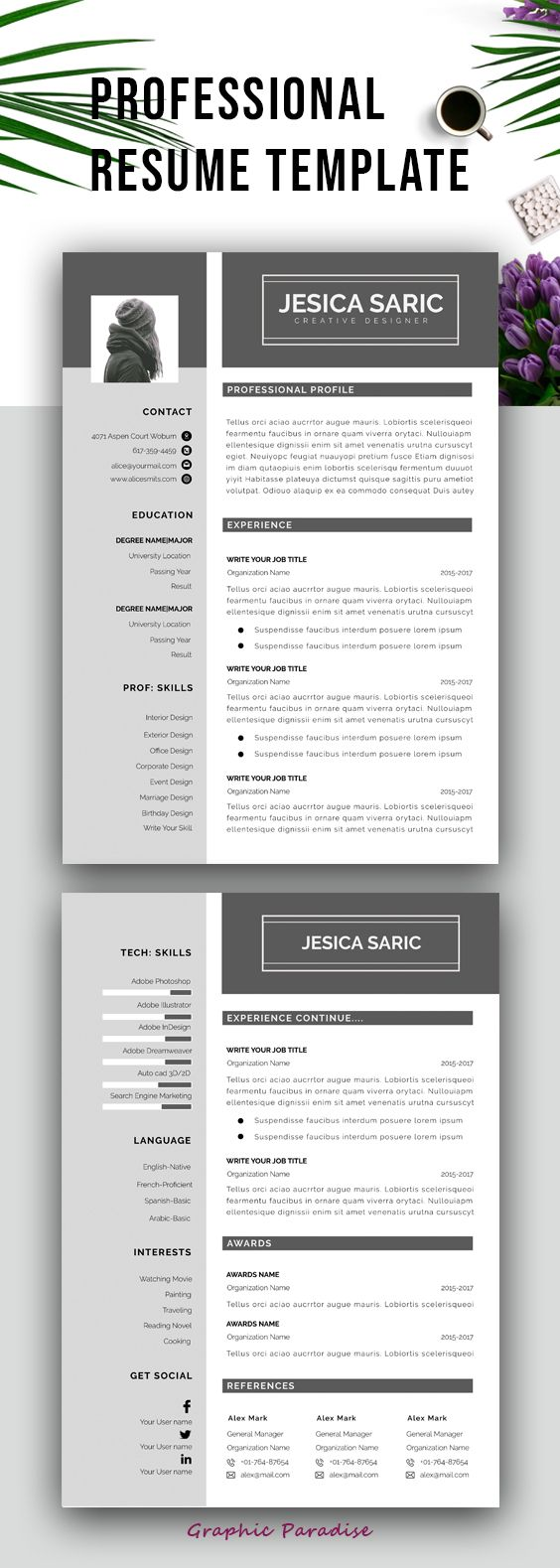 Resume Template Professional Resume Template Instant Download