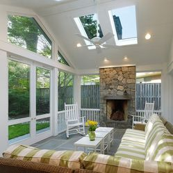 Half Vaulted Ceiling With Skylights Design Ideas Pictures Remodel And Decor Sunroom Designs Porch Design Traditional Porch