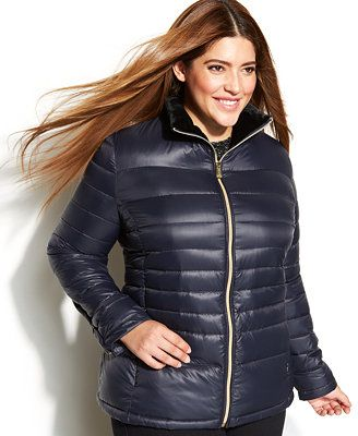 Calvin Klein Plus Size Hooded Quilted Packable Down Puffer Coat
