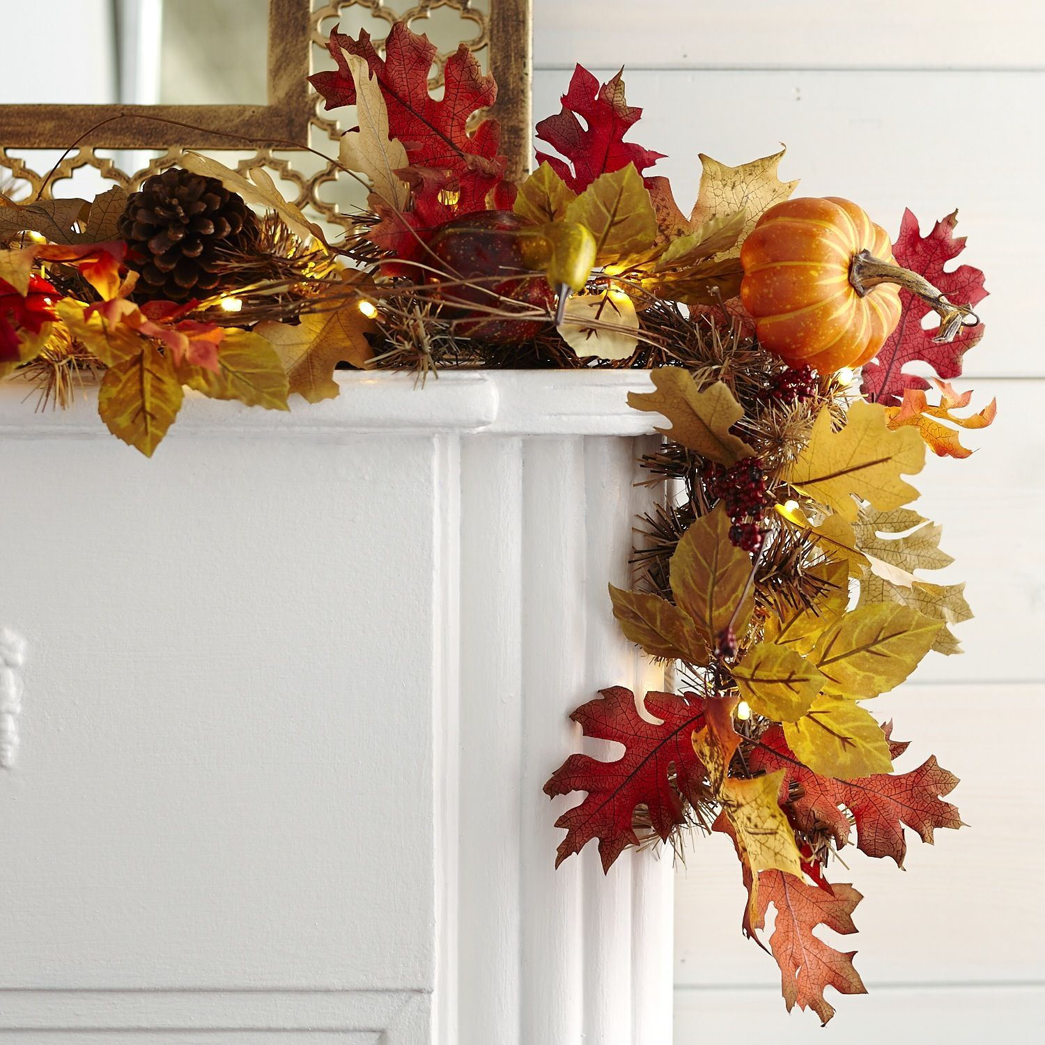 Faux Maple Leaves Pre Lit Garland Pier 1 Imports Fall Leaf Garland Fall Harvest Decorations Fall Thanksgiving Decor