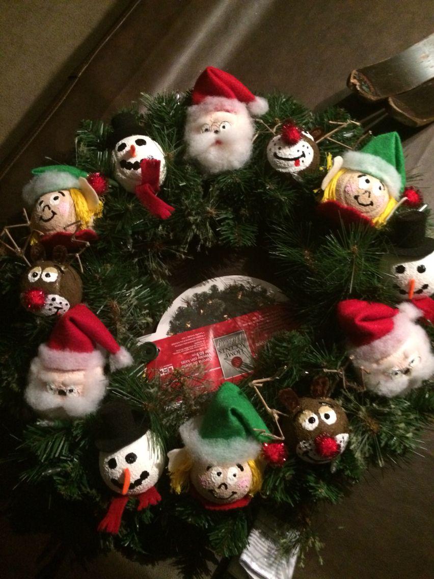 DIY Christmas Wreath from old tennis balls. Christmas