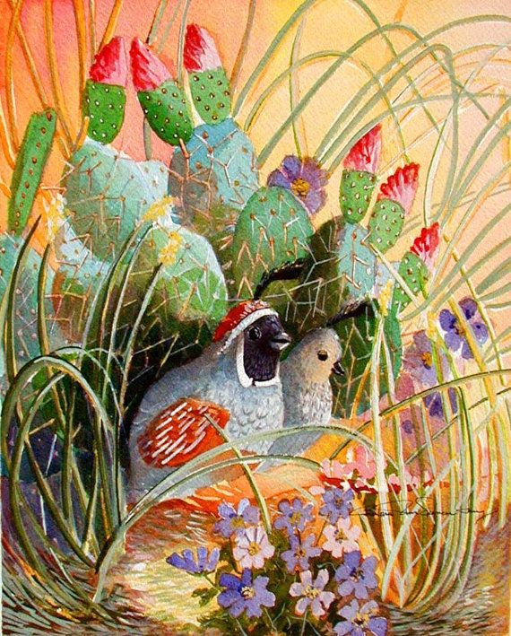 Southwest Art Print Quails in the Cactus 10 by BarbaraSpencerJump