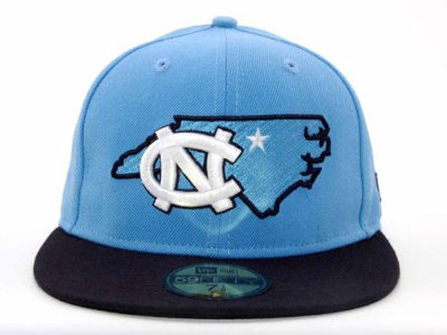 North Carolina Tar Heels State Outline New Era NCAA Fitted Flat Brim Hat  Cap UNC  NewEra  NorthCarolinaTarHeels 7fb494f4c52f