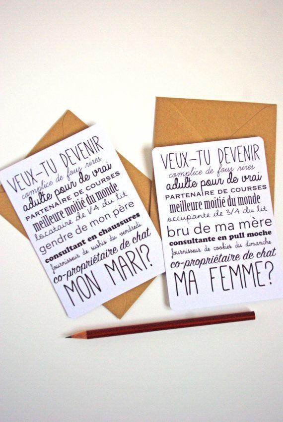 Will you marry me french postcard free shipping valentine 39 s day wedding wedding mariage - Demande en mariage originale par une femme ...