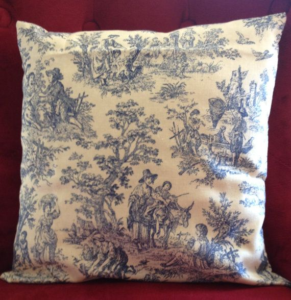 French Country Light Blue Toile Pilow Cover by PillowsNStitches, $35.00