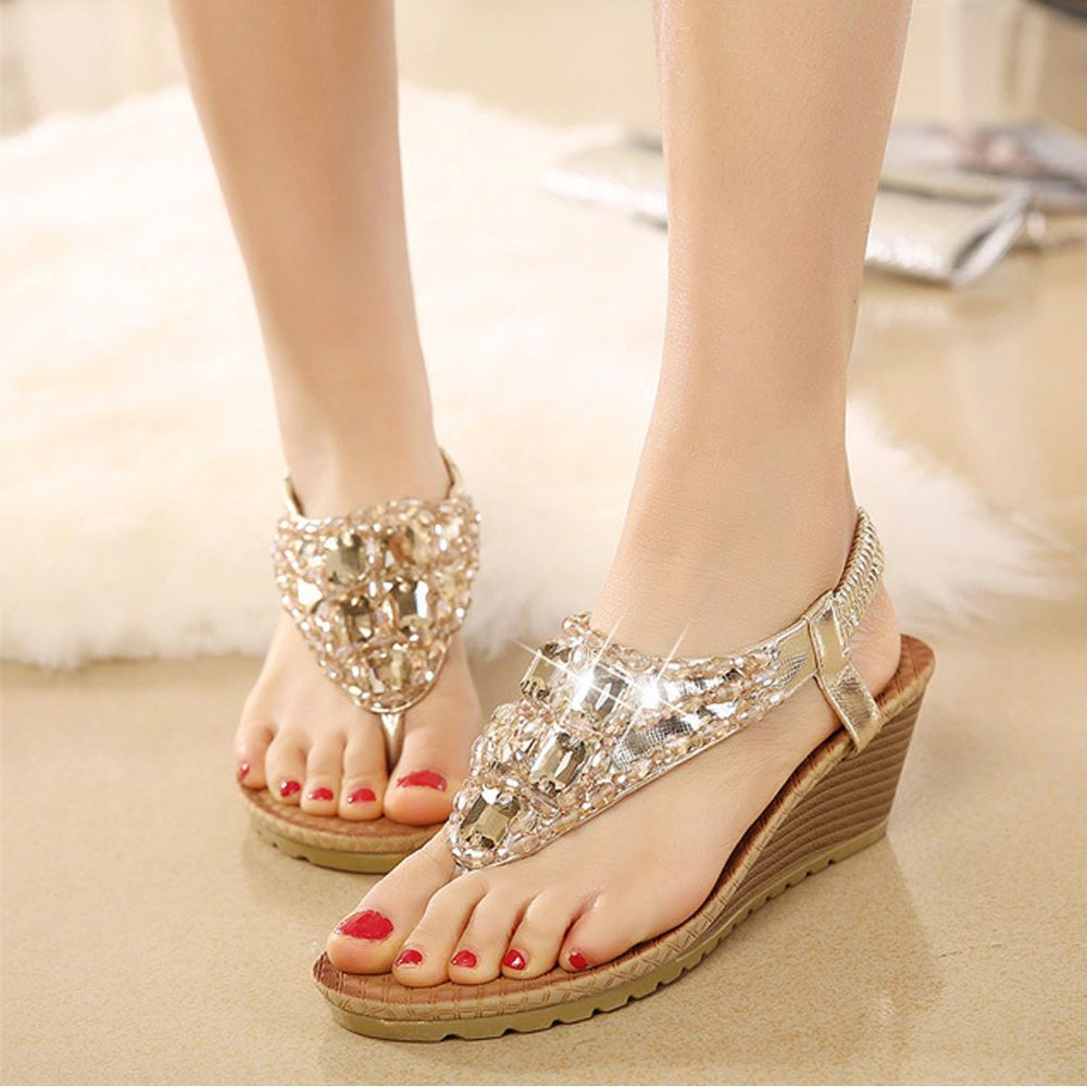 d07ec777180 Womens Rhinestone Beads T Strap Low Wedge Heels Sandals Summer Beach Thong  Shoes