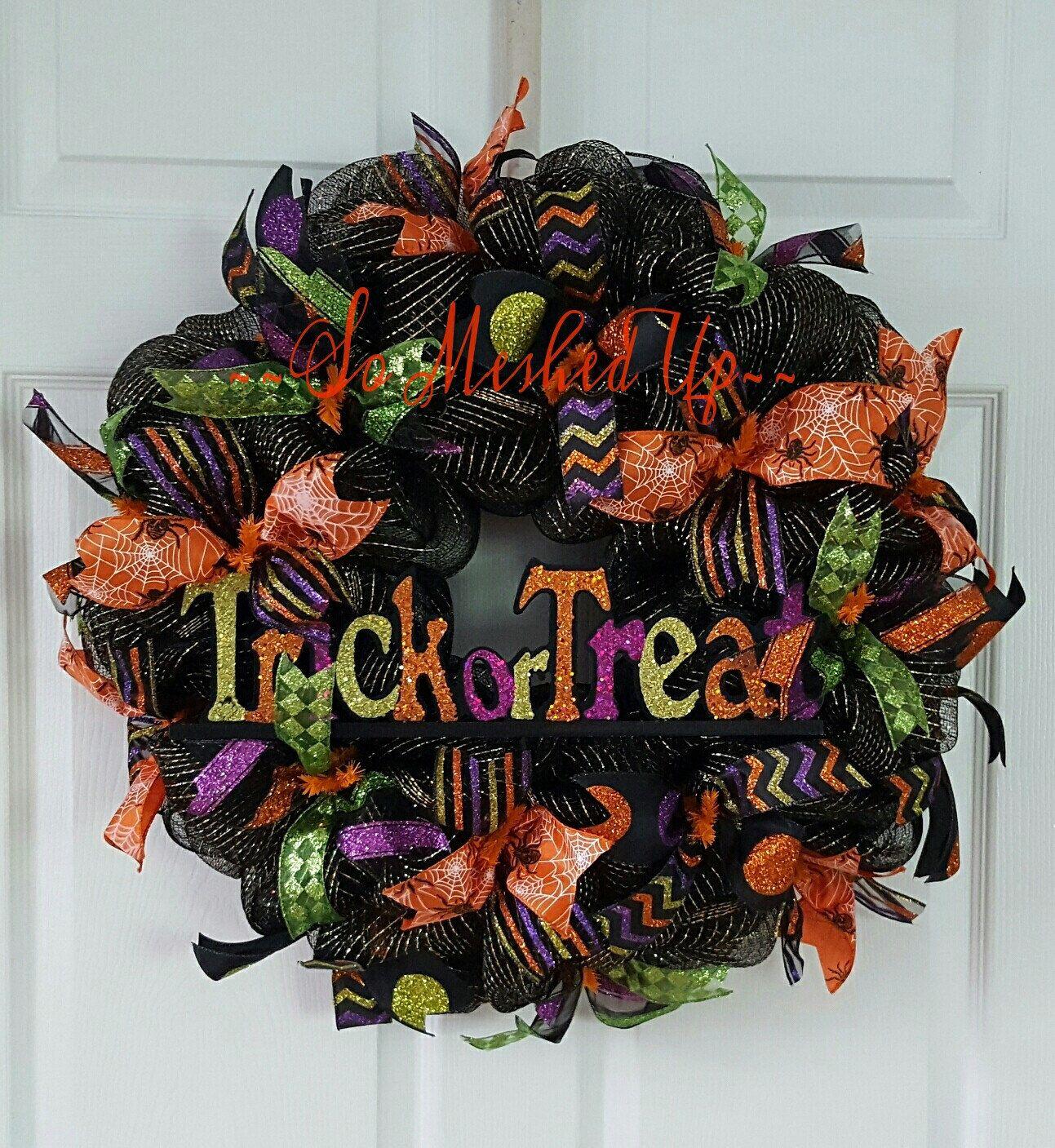 Halloween Wreath Deco Mesh Halloween Wreath Trick Or Treat