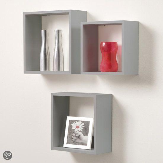 duraline kubussen wanddecoratie set van 3 grijs