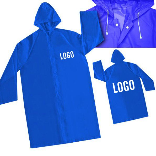 This kind of rain coat is PVC material.And we have blue,red,pink,yellow and other colors for your choice.Besides you also could do raincoat according to your PMS color.The raincoar is very long,can cover your knees.