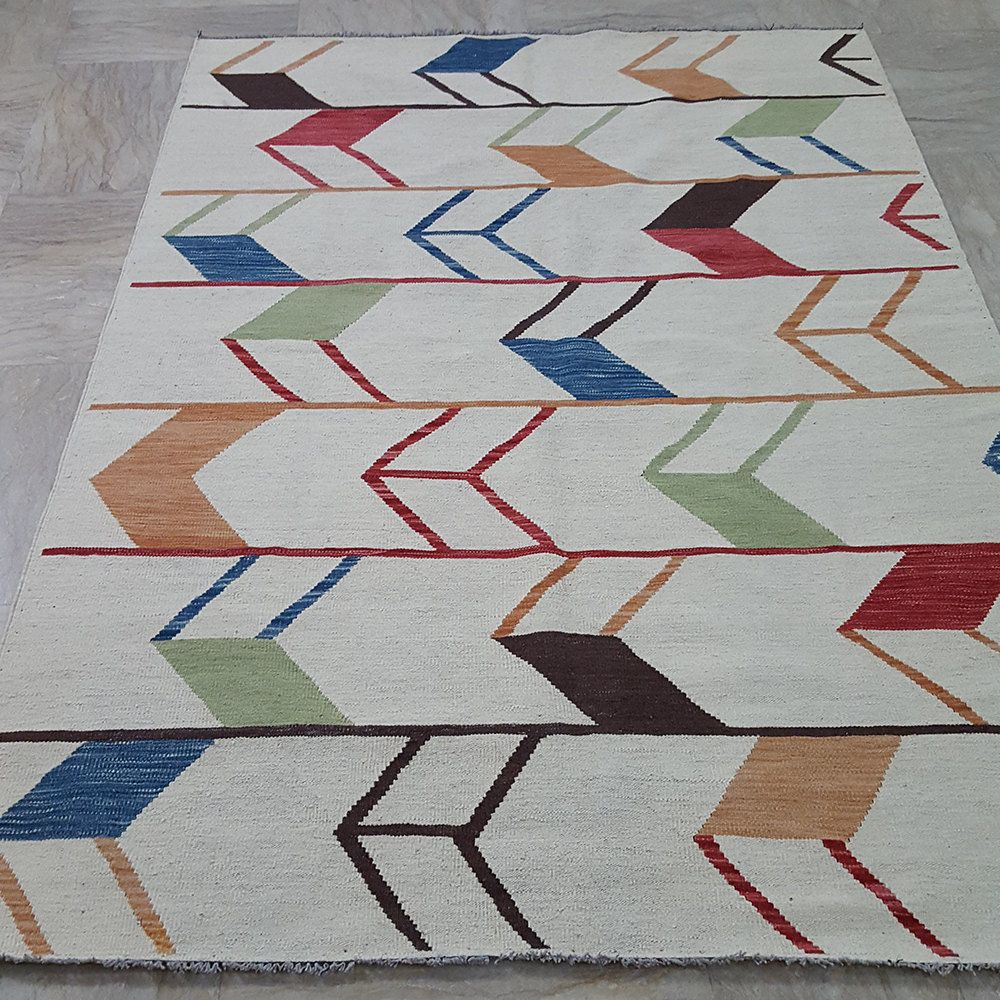 Made To Order Moroccan Design Kilim Rug Custom Ivory White Dhurrie