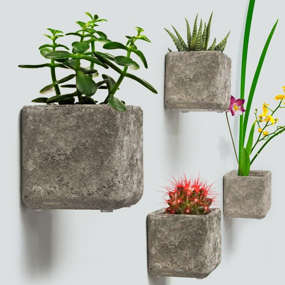 Wall Hanging Concrete Cube Planters H 5 5 Diy Wall Planter Hanging Planters Diy Hanging Planter