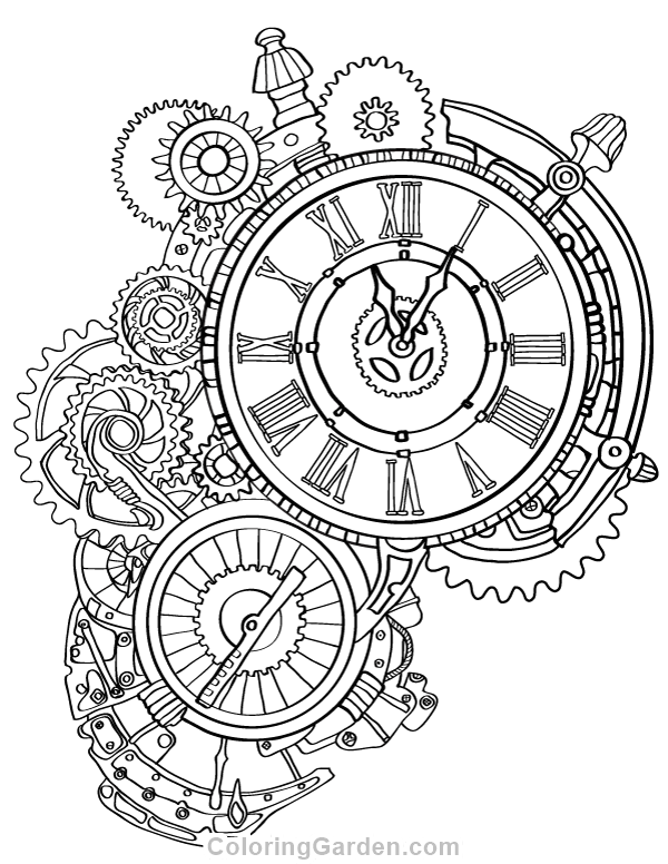 Free printable steampunk clock adult coloring page