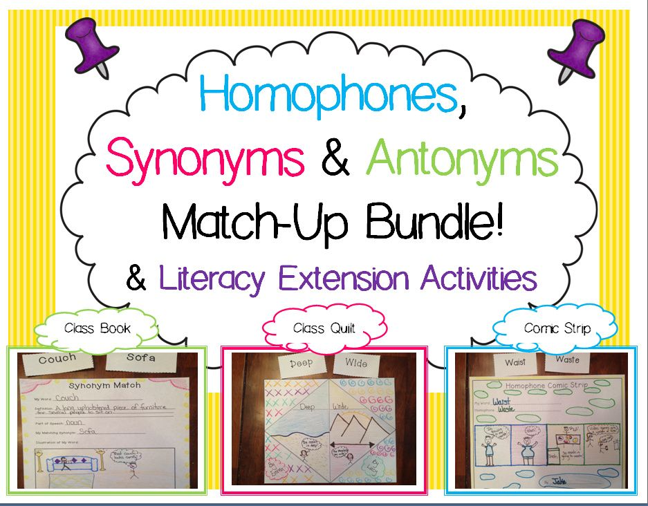 Synonym Antonym Homophone Match Ups And Activities Bundle Literacy Lessons Language Arts Lessons Ela Writing