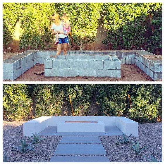 More Ideas Below Diy Square Round Cinder Block Fire Pit How To Make Ideas Simple Easy Backyards Cinder Block Fire P Amenagement Jardin Jardins Terrasse Jardin