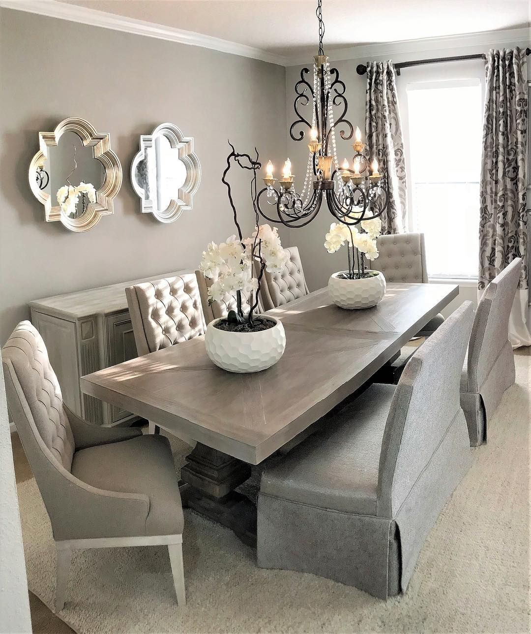 American Signature Furniture On Instagram Feast Your Eyes On This Luxe Dining Room Design B Luxe Dining Room Farmhouse Style Dining Room Dining Room Makeover