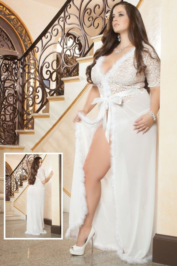 d820809eb144b Wholesale Sexy Plus Size Ivory Fur Trim Glam Night Robe