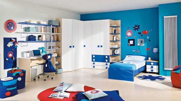 Cute Kids Room In Combination Of Rich Blue And White Kids Rooms