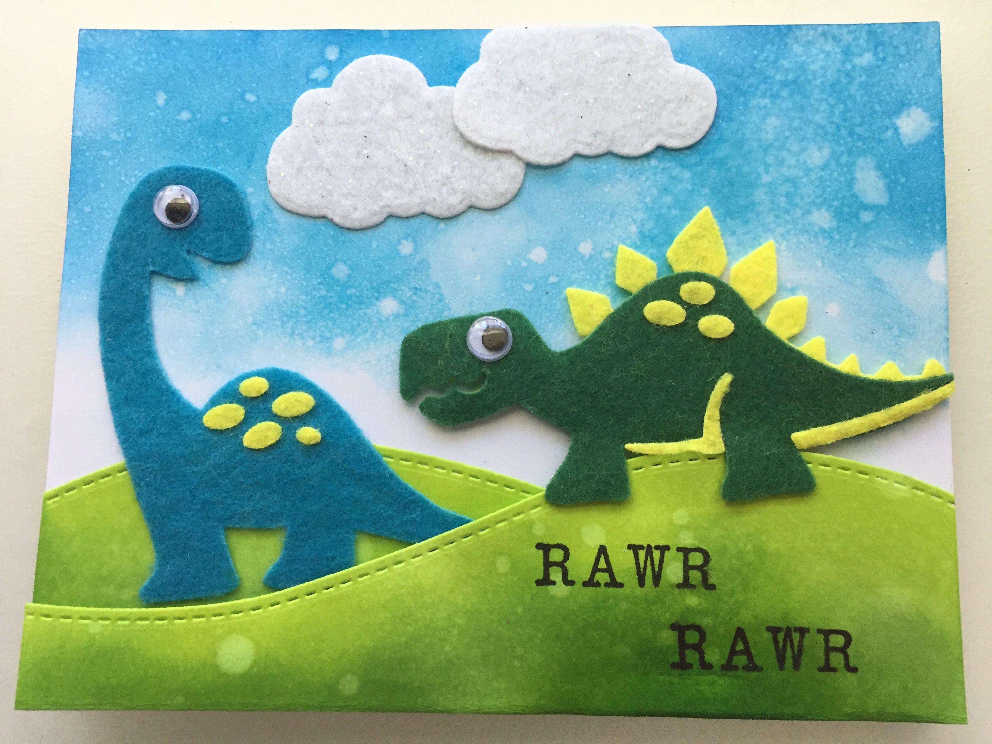 Easy Diy Felt Dinosaur Scene Birthday Handmade Card Felt Diy Homemade Shimmer Cards Handmade