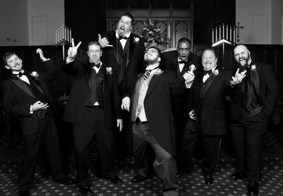 The Groom, Groomsmen and Bridesmen: Rockin' out!