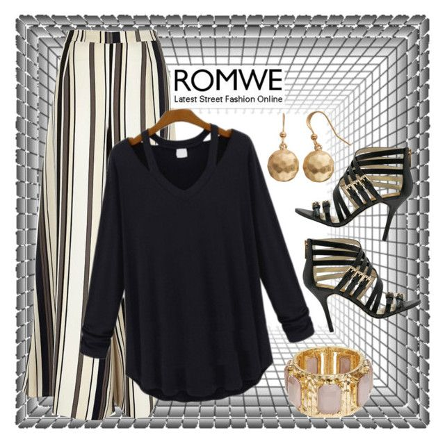 """""""Untitled #1164"""" by aly53-1 ❤ liked on Polyvore featuring River Island, MICHAEL Michael Kors, R.J. Graziano, Sonoma life + style, romwe, contestentry and blackteeshirt"""