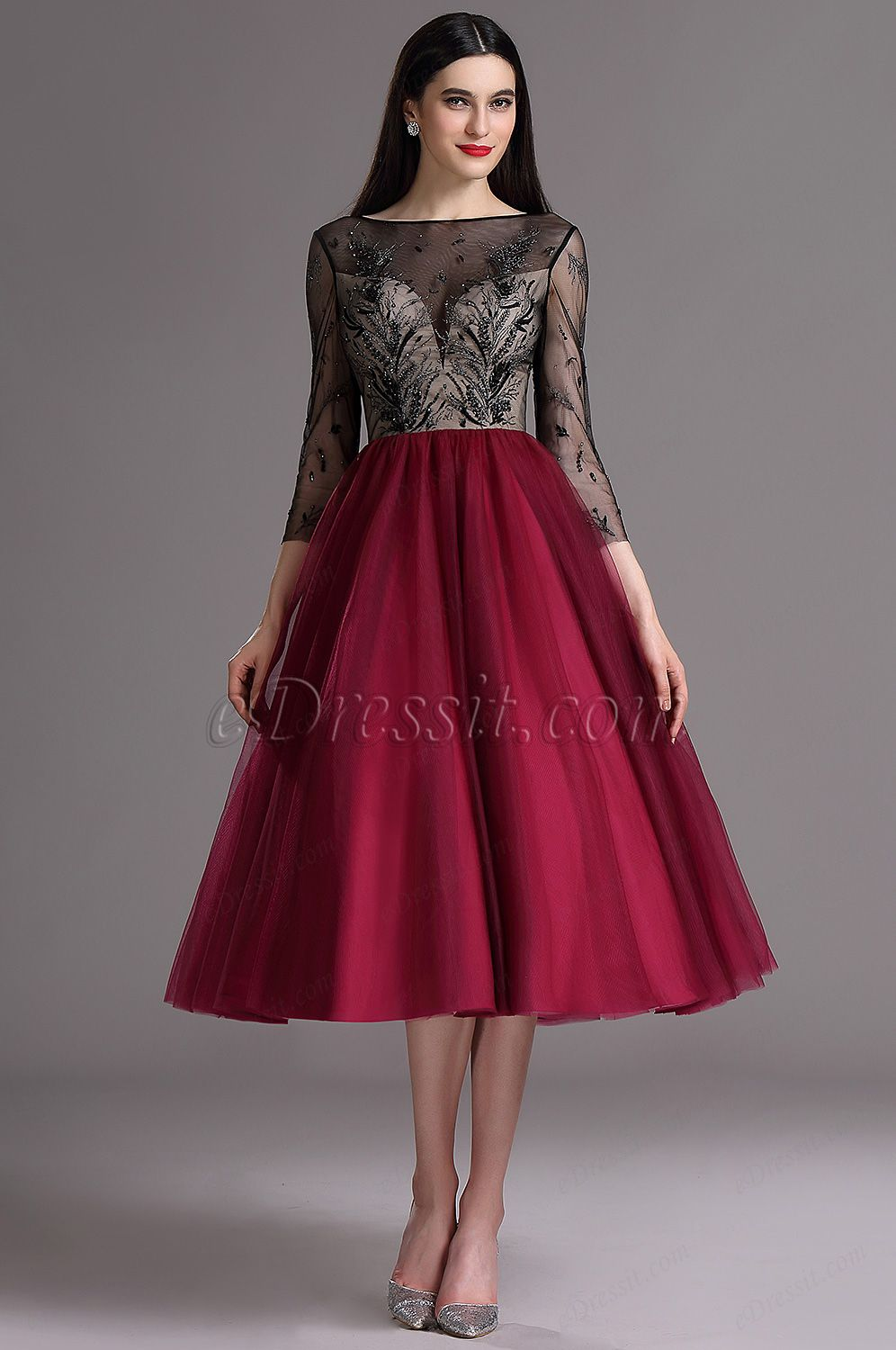 888b5b2e9c Burgundy Tea Length Cocktail Evening Dress with Embroidery (04162217 ...